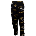 Mizzou Oval Tiger Head Black & Gold Fleece Pants