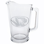 Mizzou Oval Tiger Head Etched Glass Pitcher