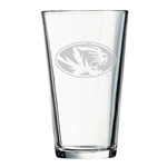 Mizzou Oval Tiger Head Etched Pint Glass