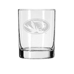 Mizzou Oval Tiger Head Etched Rocks Glass