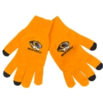 Mizzou Tiger Head Utext Gold Knit Gloves