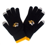 Mizzou Tiger Head I-Touch Black & Gold Knit Gloves
