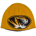 Missouri Oval Tiger Head Black & Gold Reversible Beanie