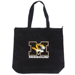 Missouri Tiger Head Black Canvas Zipper Tote Bag