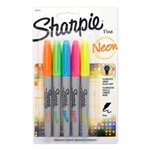 5 Pack Assorted Neon Colors Sharpie Fine Point Permanent Markers