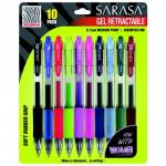 Zebra Sarasa Assorted Retractable Gel Pens Set of 10