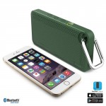 iLuv Aud Mini 6 Green Carabineer Slim Portable Weather-Resistant Bluetooth Speaker for iPhone, iPad, and other Smart Devices