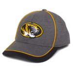 Mizzou Oval Tiger Head Grey Black Gold Stretch Fit Cap