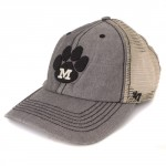 Mizzou Paw Print Grey & Black Stretch-Fit Trucker Hat