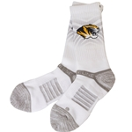 Mizzou Tiger Head White Socks