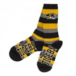 Mizzou Tigers Black, Gold & Grey Striped Mid-Calf Socks