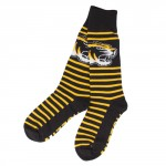 Mizzou Tiger Head Black & Gold Striped Mid-Calf Socks