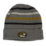 Mizzou Tiger Head Grey Striped Knit Beanie