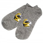 Mizzou Tiger Head Grey Ankle Socks