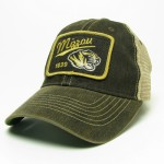 Mizzou Tiger Head Faded Black Trucker Hat