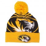 Mizzou Oval Tiger Head Black & Gold Cuffed Beanie with Gold Pom
