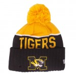 Mizzou Tigers Block M Black & Gold Cuffed Beanie with Pom