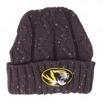 Mizzou Women's Oval Tiger Head Grey Cuffed Beanie with Sequins
