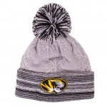 Mizzou Women's Oval Tiger Head Grey & Black Cuffed Knit  Beanie with Pom