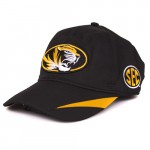 Mizzou Oval Tiger Head SEC Black & Gold Adjustable Hat
