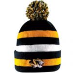 Mizzou Tiger Head Black, White & Gold Striped Cuffed Beanie with Pom