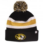 Mizzou Oval Tiger Head Black & Gold Striped Cuffed Beanie with Pom