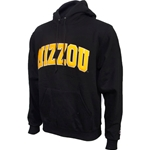 Mizzou Felt Black Hooded Sweatshirt