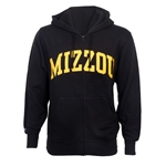 Mizzou Black & Gold Full Zip Hooded Sweatshirt
