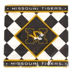 Mizzou Tigers Black and White Checkered Paper Napkins
