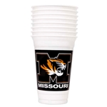 Missouri Tiger Head Black & Gold Plastic Cup Set