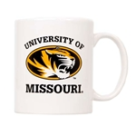 University of Missouri Oval Tiger Head White Mug