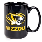 Mizzou Oval Tiger Head Black & Gold Fight Song Mug