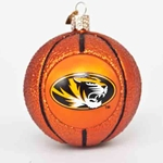 Mizzou Oval Tiger Head Orange Basketball Glass Ornament