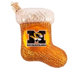 Missouri Tigers Football with Oval Tigerhead Glass Ornament