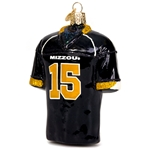Mizzou Football Jersey #15 Black Glass Ornament