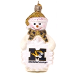 Missouri Tiger Head White Glass Snowman Ornament
