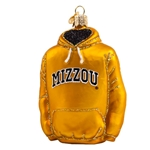Mizzou Tigers Gold Sweatshirt Glass Ornament