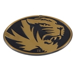 Mizzou Oval Tiger Head Gold Metal Car Sticker