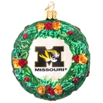 Missouri Tiger Head Glass Wreath Ornament