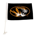 Mizzou Oval Tiger Head Black Car Flag