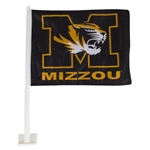 Mizzou Tiger Head Black & Gold Car Flag