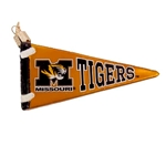 Missouri Tigers Gold Pennant Glass Ornament