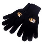 Mizzou Women's Oval Tiger Head Black Gloves