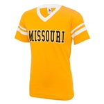 Missouri Striped Sleeve Gold V-Neck T-Shirt