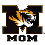 Missouri Tigers Black and Gold Tiger Head Block M Mom Car Decal