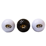 Mizzou Tiger Head Black & White Golf Ball Set