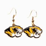 Mizzou Tiger Head Black & Gold Dangle Earrings