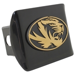 Mizzou Oval Tiger Head Black Hitch Cover