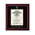 University of Missouri Official Seal Gold Embossed Diploma Frame
