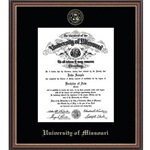 University of Missouri Official Seal Gold Embossed in Williamsburg Diploma Frame